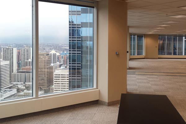 Modern Office interior with the city view over the window with check pattern floor carpet