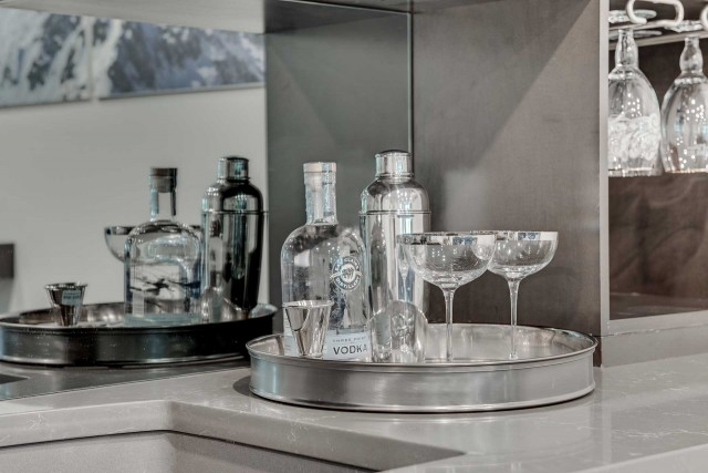 vodka bottle on tray with shaker and two martini glasses