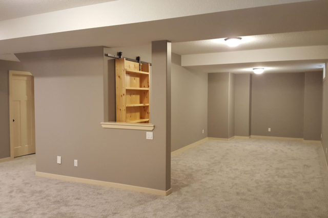 carpeted open plan rooms