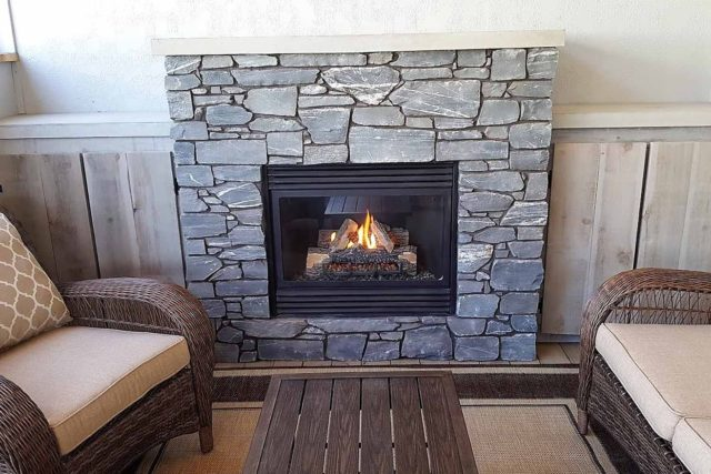 close up of complete fireplace