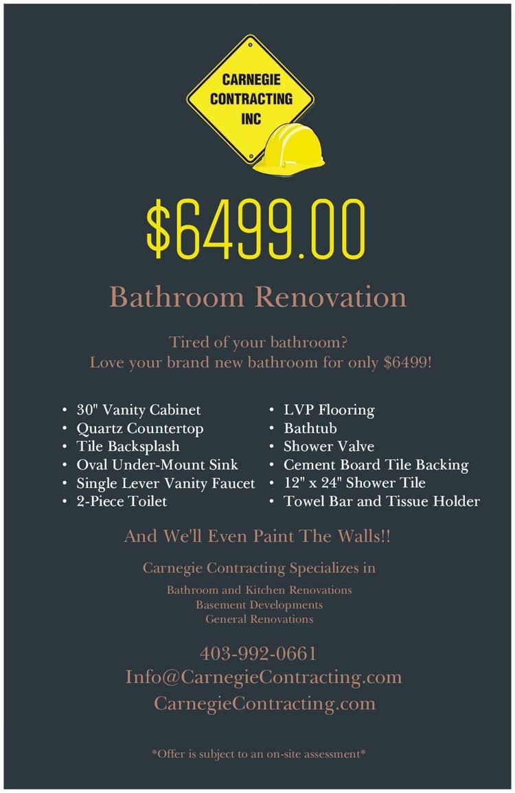 bathroom renovation for $6499 poster